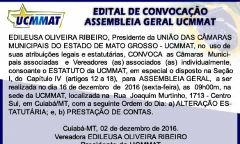 UCMMAT realiza Assembleia Geral sobre o Estatuto e Eelições